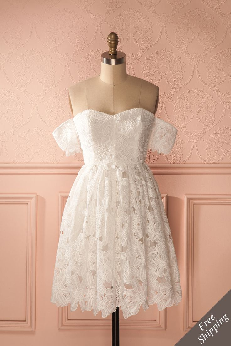 Robe blanche trapèze dentelle épaules dégagées - White a-line off-shoulder dress