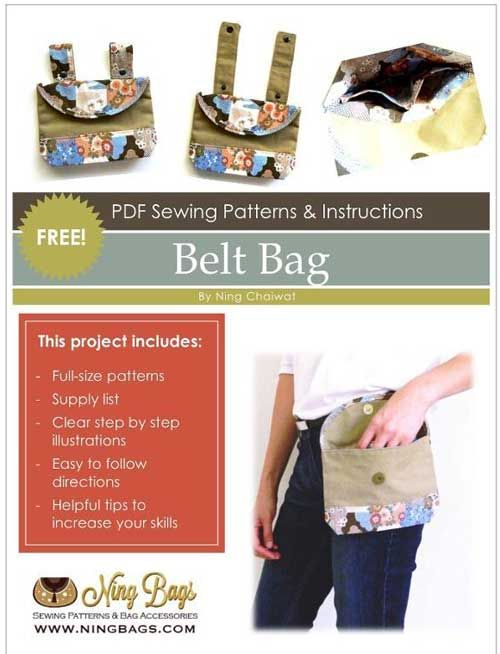 The Belt Bag is a fast and easy to sew accessory. This bag will quickly and easily hook onto your belt in a secure manner, and is perfect for holding money