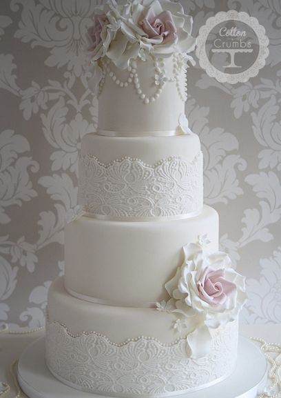 couture wedding cakes | Vintage Lace Couture | Cotton and Crumbs