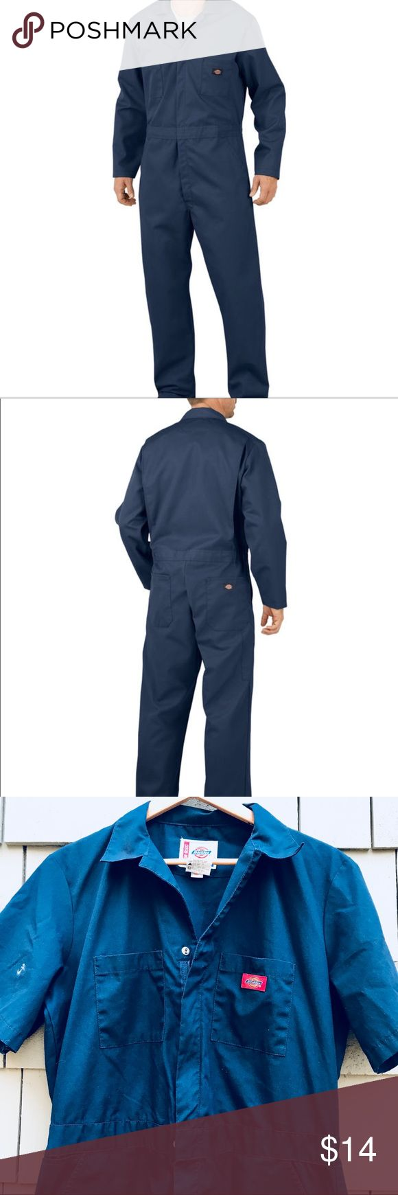 "Dickies Men's Coveralls in Navy Awesome gently used Dickies coveralls with an authentic (small) paint stain on the right shoulder.  Size men's regular length medium.  Approx 31"" inseam.  Fabric is 7.75 oz twill; 65% Polyester, 35% Cotton and wrinkle resistant.  Generous fit in shoulders and chest, bi-swing back, elastic waist inserts. Dickies Other"