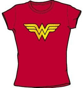 Amazon.com: WONDER WOMAN LOGO Juniors Size Fitted Girly Red T-shirt Tee Shirt: Clothing