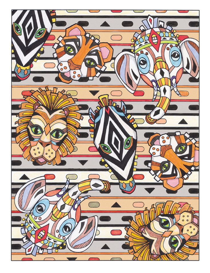 Creative Haven Textile Designs Coloring Book By Marjorie Sarnat African Masks Color