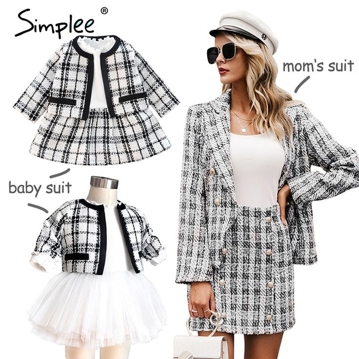 Mother and kids Tweed plaid two-pieces skirt suit Matching mom baby family clothes outfits Chic cute baby mom autumn blazer suit 2
