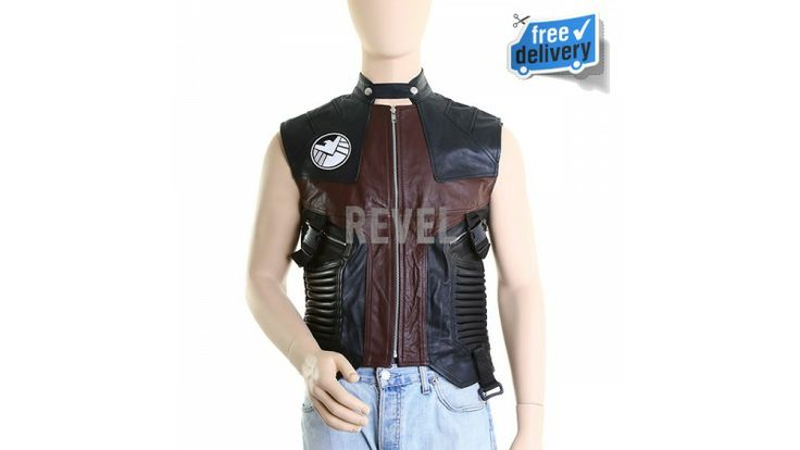 $185-Designer leather dresses from UK. Pure leather men's vest with superior designing and money-back durability. Padded sides for sporty looks. Zipped closing - futuristic officer like leather vest for men.