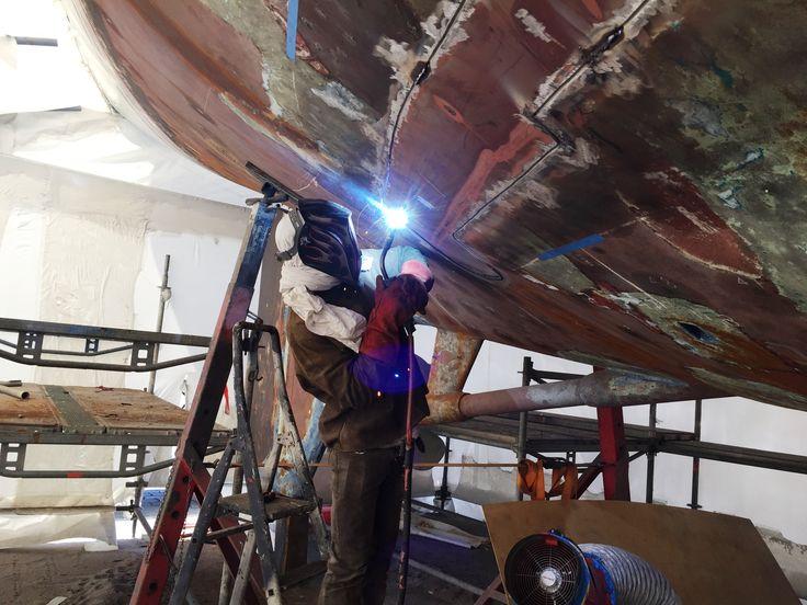 Welding work taking place.