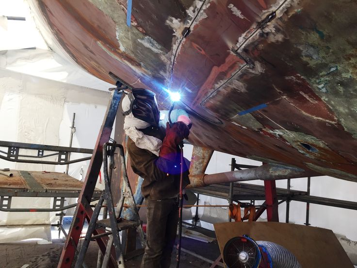 Welding work taking place.