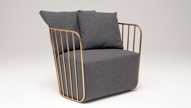 Metal work and upholstery combine in the Bride's Veil Chair by Phase Design. Get yours in #brass, #chrome, or a powder-coat finish.