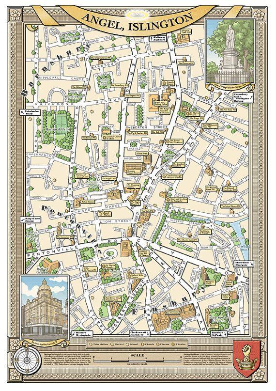 Angel (London N1) 48 x 33 cm illustrated map print