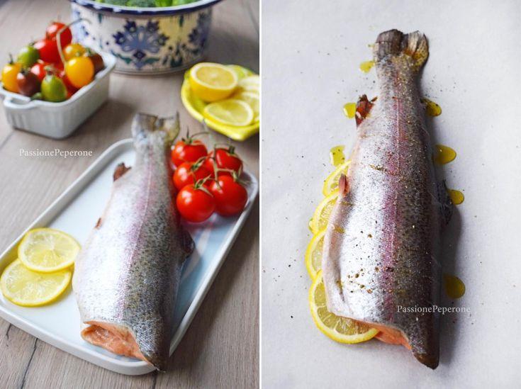 Trota iridea salmonata e broccoli al forno