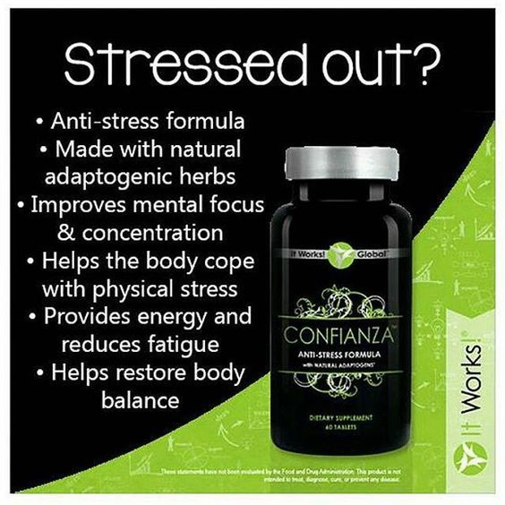 *I use this personally, and it is amazing!* It Works! Confianza! An ALL NATURAL stress fighter! Provides energy and reduces fatigue, improves mental focus and concentration, and helps restore body balance!