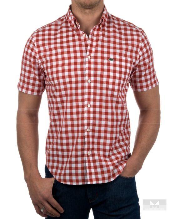 Camisa Lacoste de cuadros manga corta - Roja