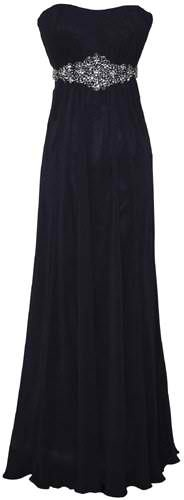 Goddess Empire Strapless Chiffon Gown w/ Rhinestone Belt