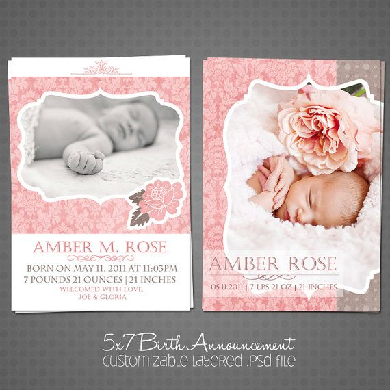 5x7 Flat  Baby Girl Birth Announcement Photo by jaynekaroldesigns, $10.00