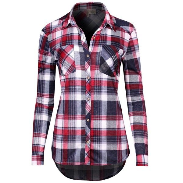 Taylor Perform Women's Long Sleeve Plaid Flannel Button Down Shirt Top ($22) ❤ liked on Polyvore featuring tops, long sleeve flannel shirts, flannel shirts, long-sleeve shirt, purple shirt and long sleeve button up shirts