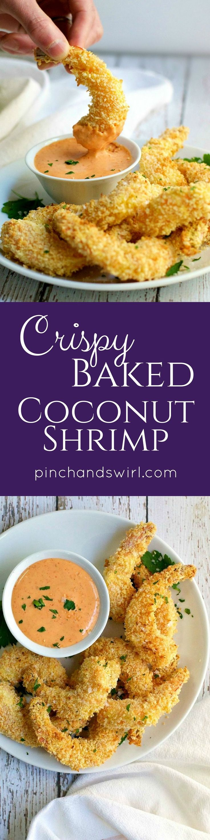 The secret to truly crispy baked coconut shrimp is in the breading. It's all about double toasting - toast the panko breadcrumbs and coconut before you bread the shrimp and let it crisp up again while the shrimp bakes. With this method, the breading adher