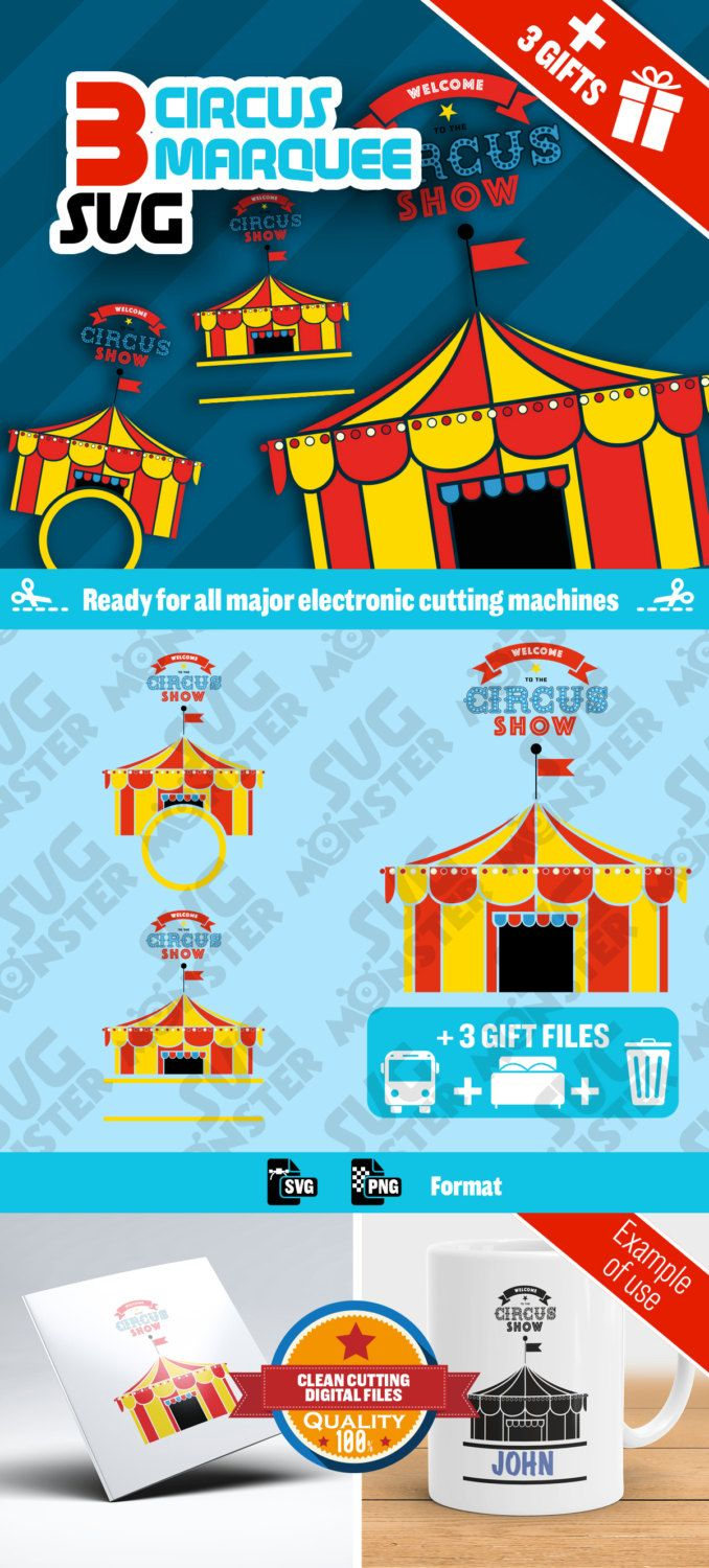 3 SVG CIRCUS MARQUEE svg • Cut Files for Electronic Vinyl Cutter • png • Cricut Design Space, Silhouette • Welcome To The Circus Show • 051 de la boutique SVGmonster sur Etsy
