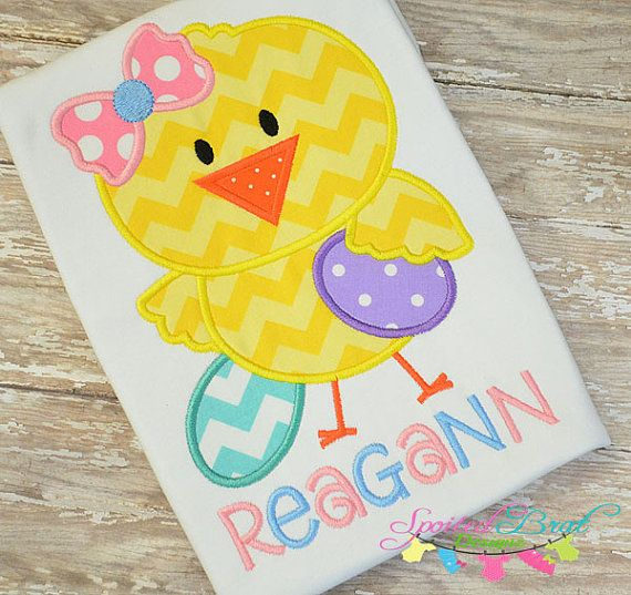 Personalized Easter Chick Embroidered Tee by spoiledbratdesignz, $22.00