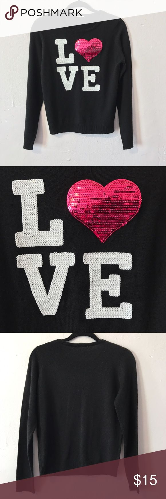 Sequin Heart sweater love black pink girly cute Cute sequin appliqué sweater, lightweight knit, comfy, and easy to wear. Perfect tip to layer over a cami. Perfect condition and only worn once. Best fits a juniors size Medium or standard size Small. Labels have been removed. Purchased from a boutique and not Forever 21, just tagged for exposure. Get this cutie before it's gone! Forever 21 Sweaters Crew & Scoop Necks