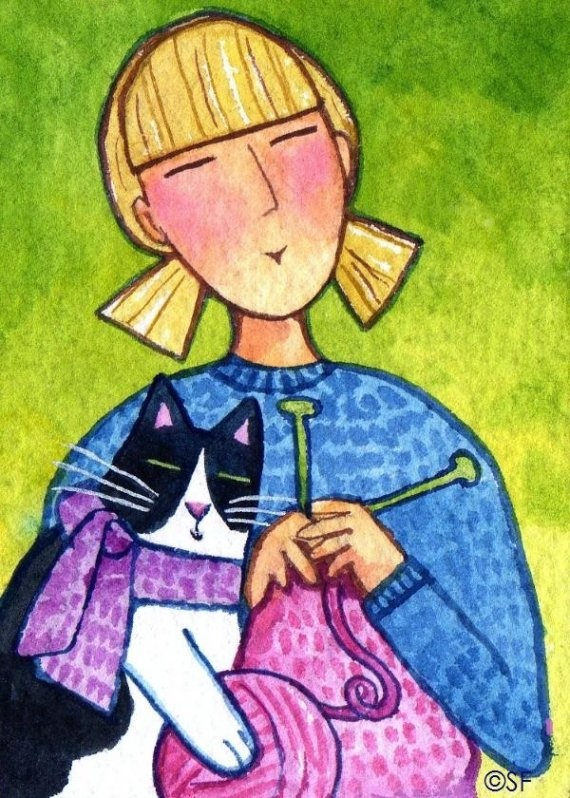 Cat Lady Knitting : Best animal art images on pinterest pisces tropical