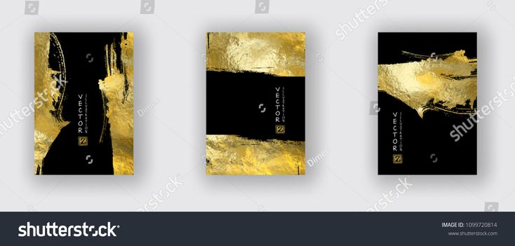 Vector Black and Gold Design Templates set for Brochures, Flyers, Mobile Technologies, Applications, Online Services, Typographic Emblems, Logo, Banne…