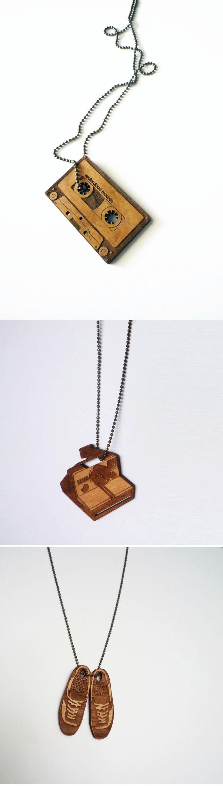 Laser cut necklace, laser engraved, wooden necklace, cassette, polaroid camera, shoes
