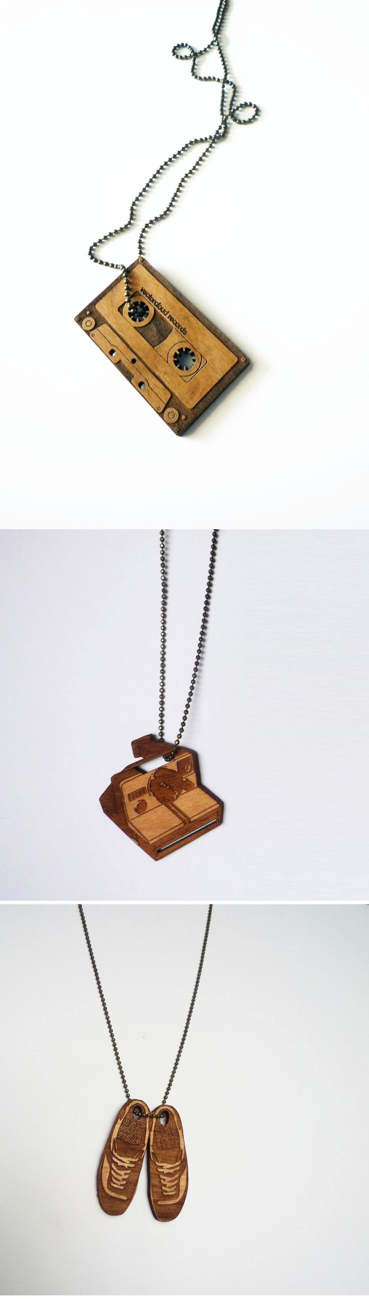 Laser cut necklace, laser engraved, wooden necklace, cassette, polaroid camera, shoes