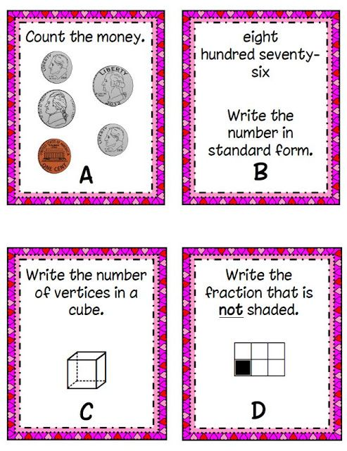 Valentine's Day Math--Second grade math task cards-great for math center---FREE