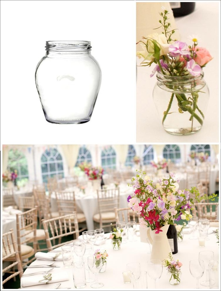 For Hire: 8oz Orcio Jam Jars with red and white spotty lids. Perfect for wedding decorations, flowers or candle holders. £0.50 each. South of England. www.rosetintmywedding.co.uk