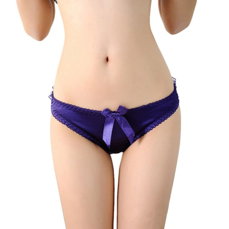 Retail Wholesale Women Sexy Briefs Bowknot Low Waist Thongs Hollow Back Lace Underwear Panties
