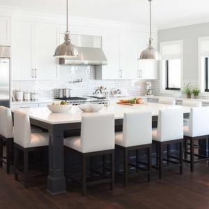 @Caroline Benedyk Hamilton Kelly Deck Design - kitchens - white and gray kitchen, gray walls, perimeter cabinets, white perimeter cabinets, shaker cabinets, shaker kit...