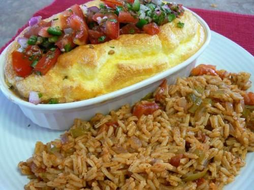 Pancho's Baked Chile Rellenos with Spanish Rice:  going to tweak it a bit. this recipe looks like a good base idea for baking instead of frying the chile rellenos...