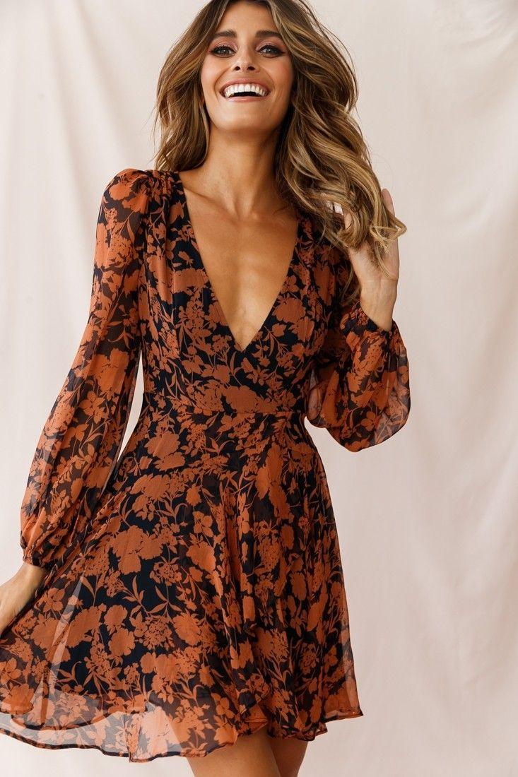 Wisteria Lane Long Sleeve Tea Dress Floral Print Navy Wisteria Lane Long Sleeve …