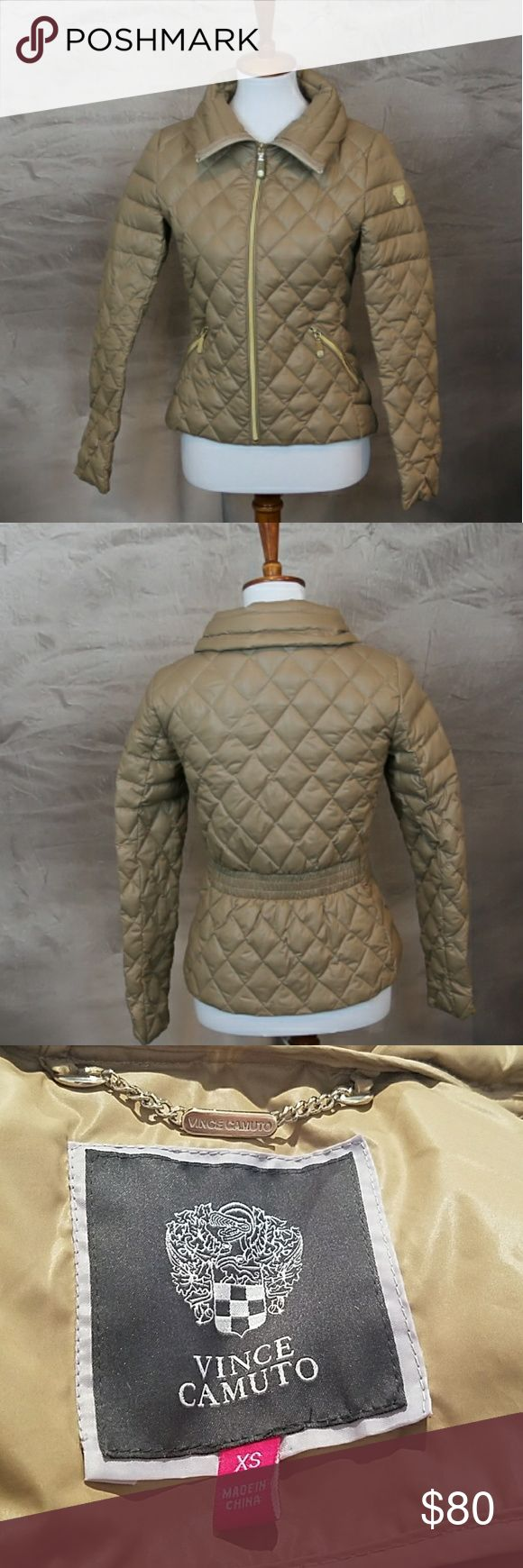 Vince Camuto down feather puffer jacket coat XS Vince Camuto down feather puffer jacket coat XS. Quilted. Tan with gold hardware. Excellent, like new, condition. Jackets & Coats Puffers