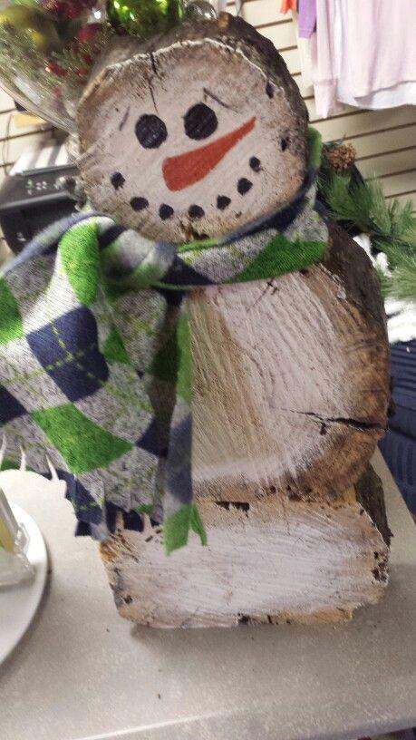 Log slab snowmen