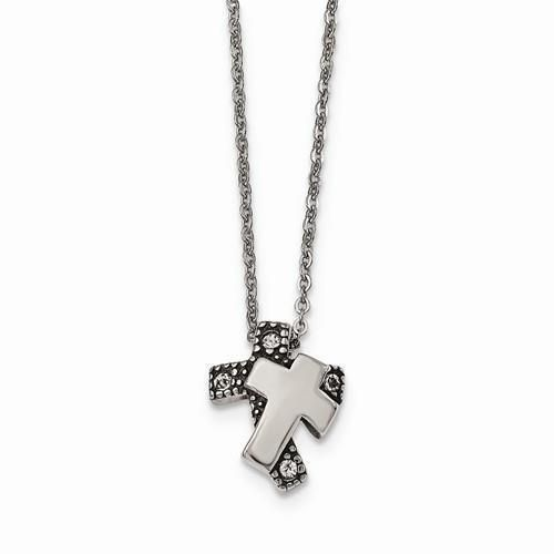 "NEW CHISEL STAINLESS STEEL POLISHED  ANTIQUED CRYSTAL CROSS PENDANT NECKLACE 18"" #Chisel #Pendant"
