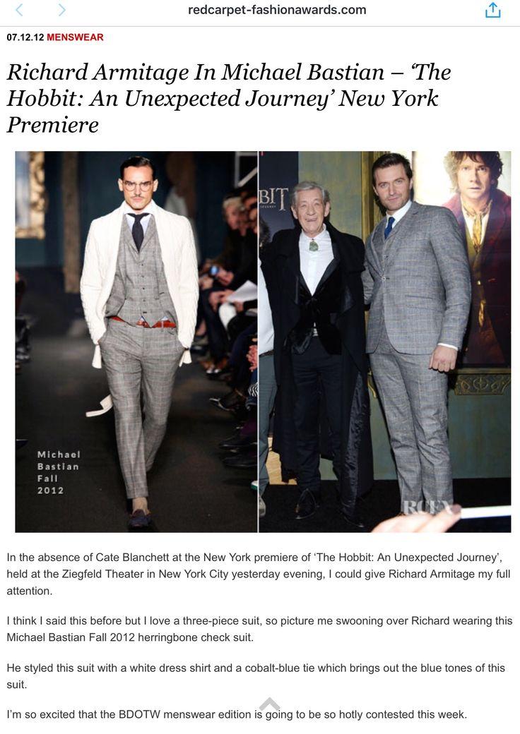 Check out Richard Armitage in Michael Bastian. The Hobbit: AUJ, NYC, Dec 2012.redcarpet-fashionawards.com/2012/12/07/ric…