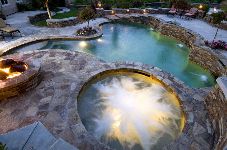 Spa pool fire pit landscape layout this pin re pin is for Pool design layout
