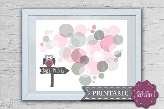 owl and 25 30 wishes pink grey baby girl baby shower keepsake nursery