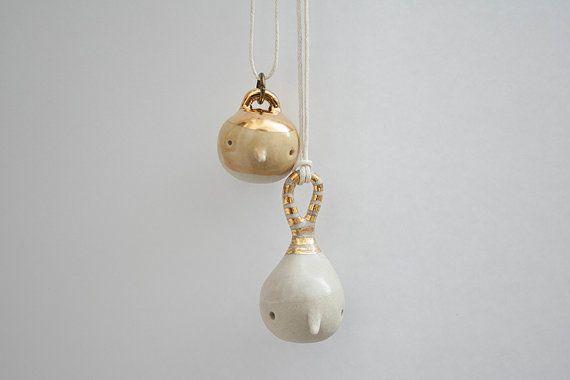 Two Handmade 18K Gold Luster Overglaze Jewelry. by ferceramics