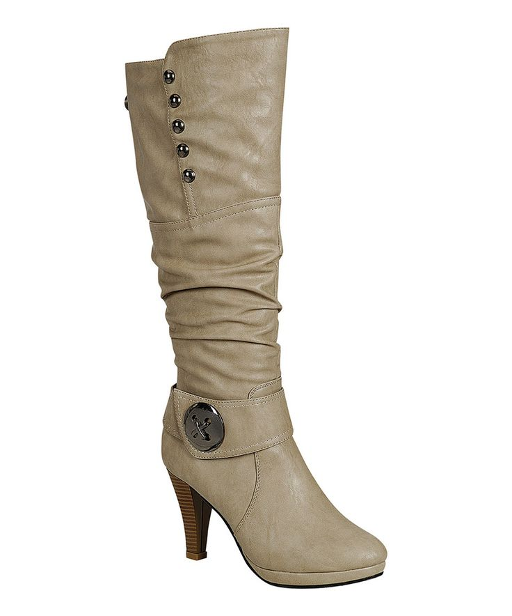 Another great find on #zulily! Light Gray Button Sandra Boot by Reneeze #zulilyfinds