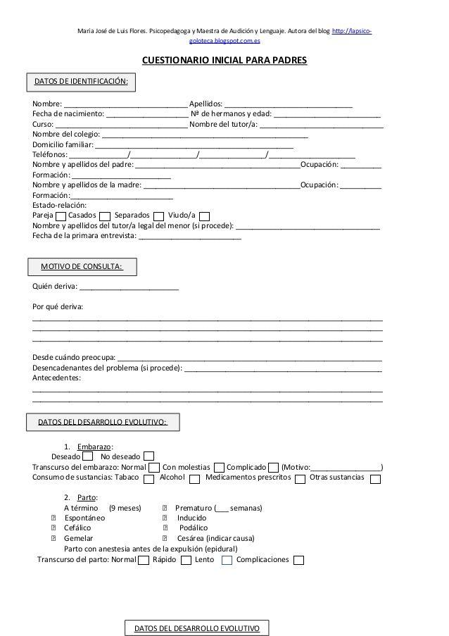 Cuestionario inicial para padres by MariaJosé Luis Flores via slideshare
