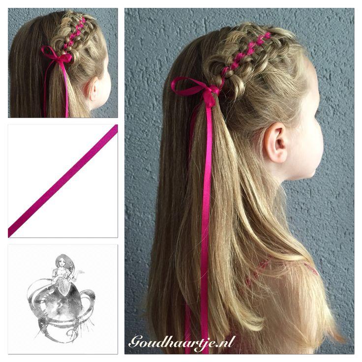 Ribbon zipper braid with beautiful pink ribbon from Goudhaartje.nl #ribbonbraid #ribbonzipperbraid #zipperbraid #braid #ribbon #hairaccesories #hairstyle #lint #vlecht #haaraccessoires #haarstijl #goudhaartje