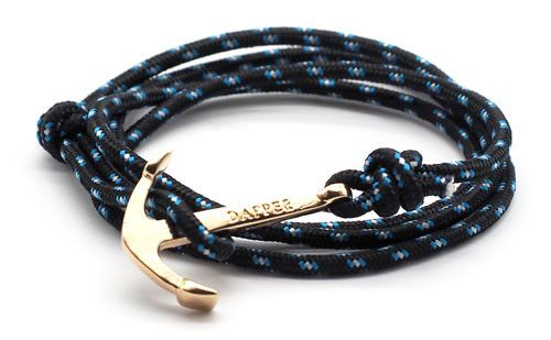 The Art Black & Blue Gold Anchor & Rope Bracelet