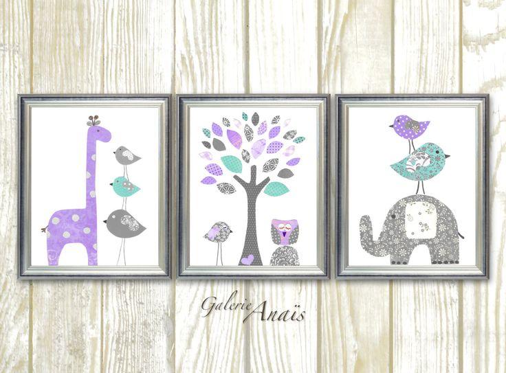 Baby Girl Nursery Decor Purple gray aqua nursery Baby room decor giraffe Elephant Tree Birds Owl room decor Set of three prints by GalerieAnais on Etsy https://www.etsy.com/listing/277804056/baby-girl-nursery-decor-purple-gray-aqua