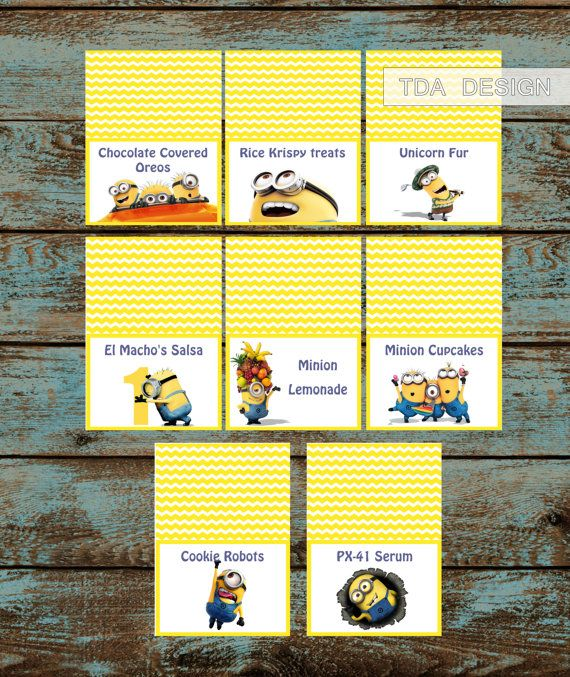 Minions Food Labels,Despicable Me Minions Birthday Party Food Tent Cards, Minion Labels
