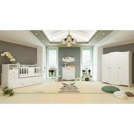 Pierre Cardin Opale White Bebek Odası Takımı. 3 kapaklı gardırop. 80x180 yavru yataklı büyüyen beşik. Şifonyer + Duvar rafı.