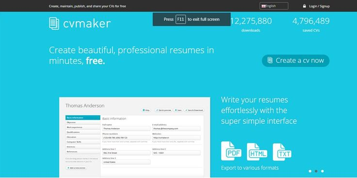 online cv maker for free