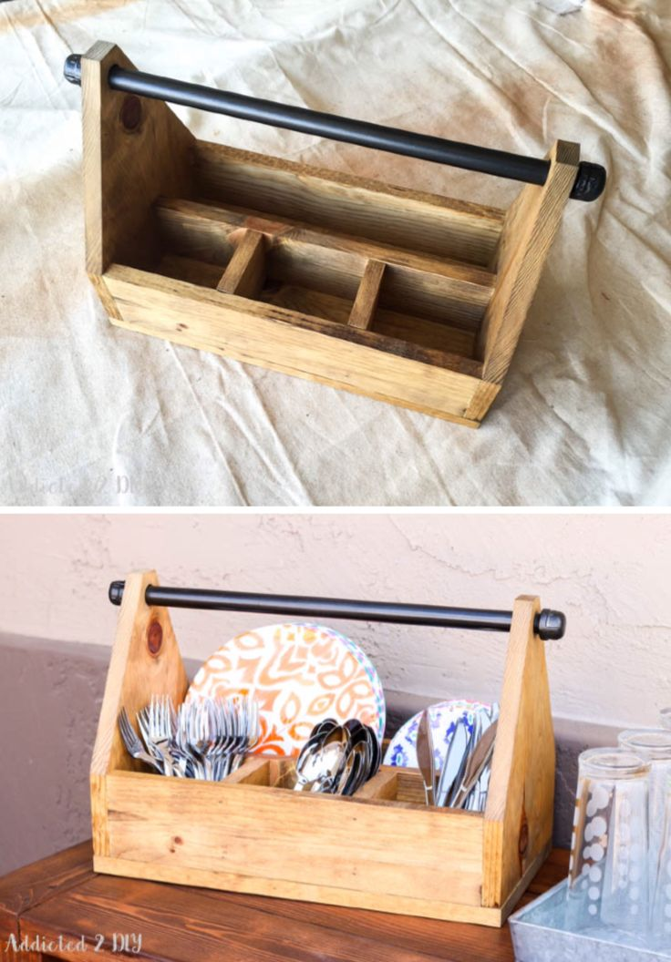 'Rustic Industrial Dinnerware Caddy and Paper Towel Holder...!' (via Addicted 2 DIY)