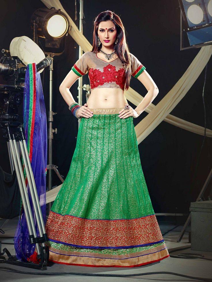 Green Net Lehenga Choli with Zari Work