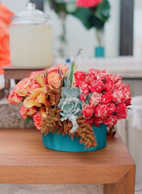 Turquoise & peach centerpieces - great color combo!